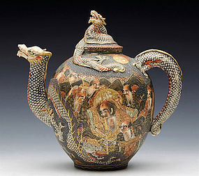 1880's Meiji Period Satsuma Dragon Teapot with holy men