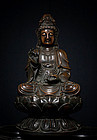 Huge Chinese Qing  Bronze Guanyin with Xuande Mark