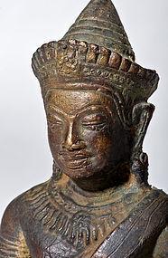 Lopburi Siam Bronze Buddha in Bayon Style (excavated)