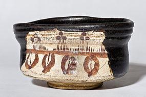 Edo Period kutsu-gata chawan of black oribe ware