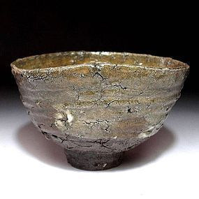 Tanba Chawan with natural cracks 120 years Meiji Period