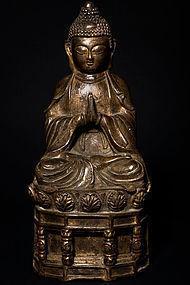 Tibeto-Chinese Bronze Temple Shakamuni Buddha 19th c.