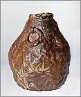 Japanese Meiji Tanba Vase with Otagaki Rengetsu Poem