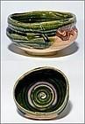Oribe Chawan by Living National Treasure Toyozo Arakawa