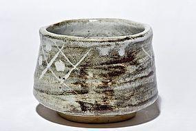 Momoyama / early Edo Period Grey Shino-Oribe Chawan