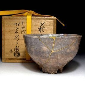 Hagi Chawan by the 14th. Shibei Sakakura with kintsugi