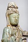 Chinese Jade Guanyin Buddha Statue Qing Dynasty 4kg!