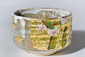 Japanese Kinsai Iroe Chawan with Shino glaze and gold leaf