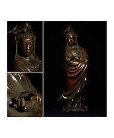 Spectacular huge Antique Bronze Guanyin with Kangxi Mark 67cm
