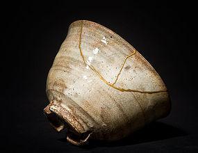 Edo period Hagi Chawan with gold restoration