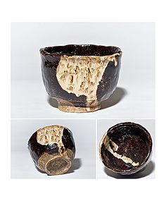 Setoguro Chawan from the Edo period with fantastic Seto Glaze