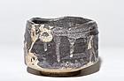 Early Momoyama Period Grey Hanzutsu Shino-Oribe Chawan