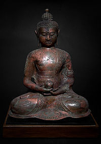 Large Chinese Qing Bronze Buddha on aesthetic custom stand