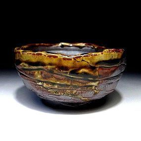 Japanese antique hand shaped Tanba chawan