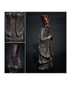 18'' tall Chinese 1850 hand carved wooden statue of great Confucius