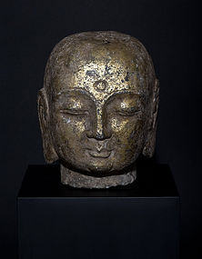 Large Chinese Ming Dynasty massive Buddha Head with rests of gilt