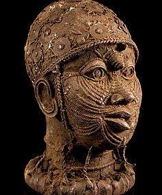 Massive 7 kg Ife Bronze Head of Oni (Oòni) Yoruba