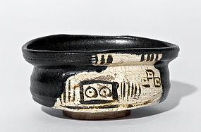 Japanese Elegant Black (Kuro) Oribe Chawan from Early Edo Period