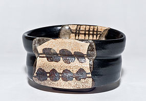 Edo Period Kuro Oribe Chawan with artistic design and great patina