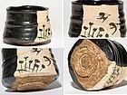 Japanese Kuro-Oribe Chawan of Early Edo Period