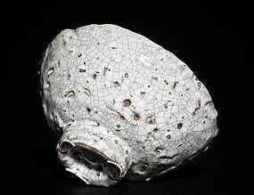 Meiji Period white Hagi Chawan with crackle glaze