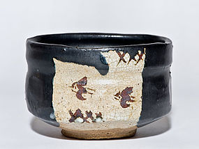 Japanese Black Oribe Chawan of early Edo period