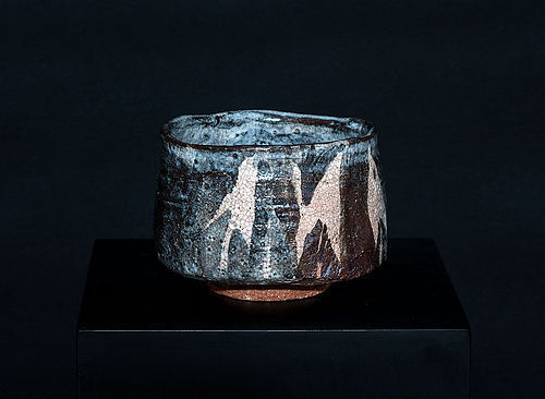Stunning Grey Shino-Oribe Chawan Momoyama - Early Edo Period