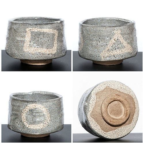 Momoyama Period Grey Shino Chawan with rare Zen Design
