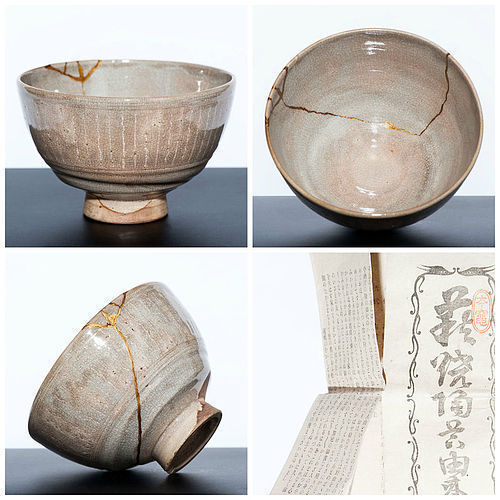Hagi Chawan with Kintsugi Gold by the 9th Saka Koraizaemon