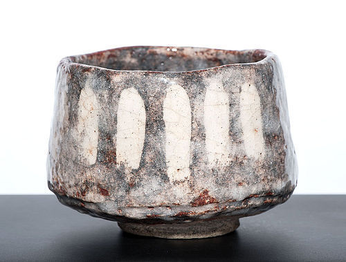 Awesome Japanese Shino-Oribe Chawan from the Meiji Period