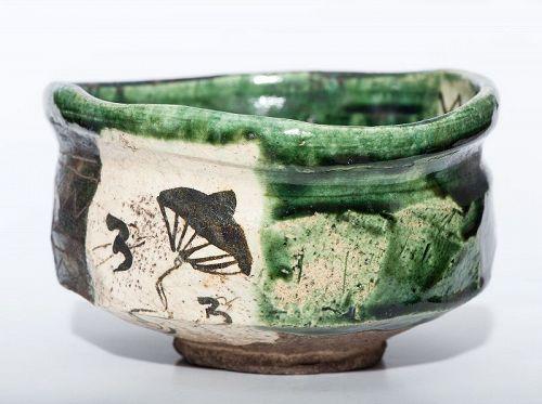 Momoyama Period Ao-Oribe Chawan