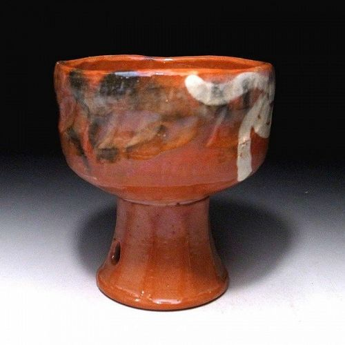 Aka Raku Bajyohai Tea Bowl with long foot for horse riding