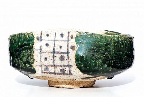 Large Ao-Oribe Chawan of early Edo Period