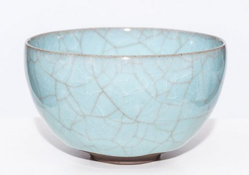 Fantastic blue Celadon tea bowl by greatest Makoto Wakao