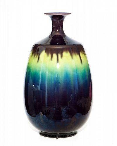Kutani Masterpiece Vase Living National Treasure Tokuda Yasokichi III