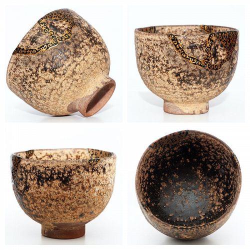 Antique Karatsu Tea Bowl with Karakusa Kintsugi