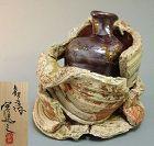 Spectacular wabi-sabi vase by greatest artist Ando Minoru