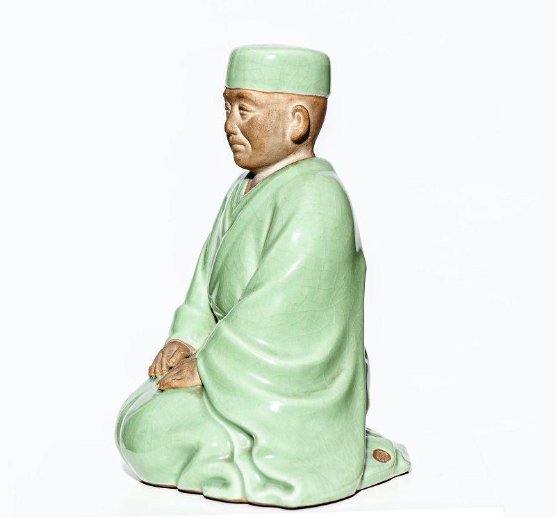 Japanese Kutani Celadon Statue of Sen no Rikyū