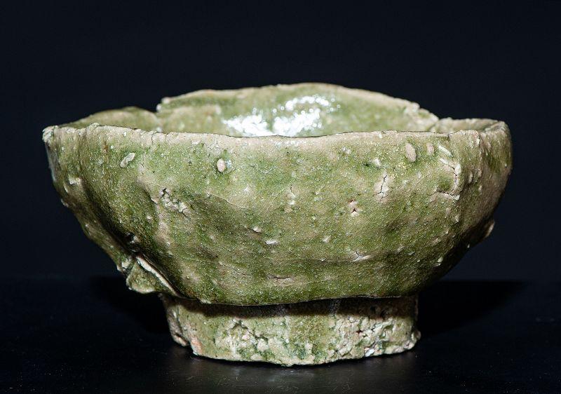 Japanese green Mino-Ware Tea Bowl Edo Period
