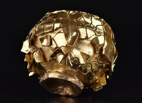 Kaigari Gold Shino Chawan by greatest Kuwata Takuro