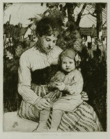 "William Lee Hankey, etching, ""In the Garden"""