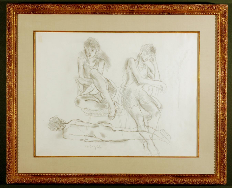 """Moses Soyer, graphite on paper, """"Three Figures"""""""