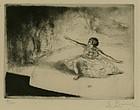 """Auguste Louis Brouet, etching, """"Le Salut"""""""