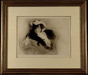 "Edgar Chahine, drypoint etching, ""Elvira,"" 1906"