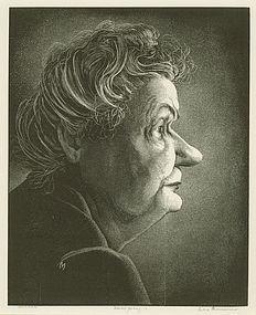 """Leo Meissner, wood engraving, """"Hannah"""""""