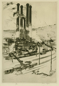 Robert Fulton Logan, etching, Factory Scene
