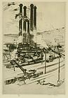 Robert Fulton Logan, etching, Factory Scene