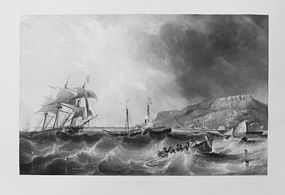 "Charles Mottram, etching, ""Off Portland,"" 1871"