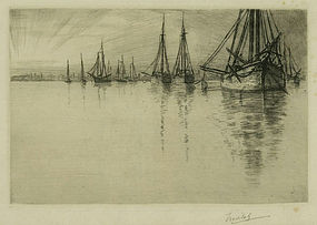"Charles Mielatz, etching, ""In Newport Harbor"""
