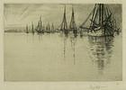 "Charles Mielatz, etching, ""In Newport Harbor"""
